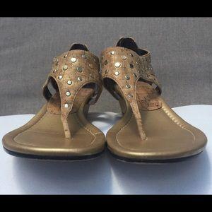 Donald J Pliner cork/gold sandal